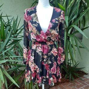 Francesca's Sheer Back Mini Ruffle Floral Dress
